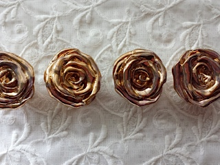 Rose Knobs Drawer Pulls Gold Metallic