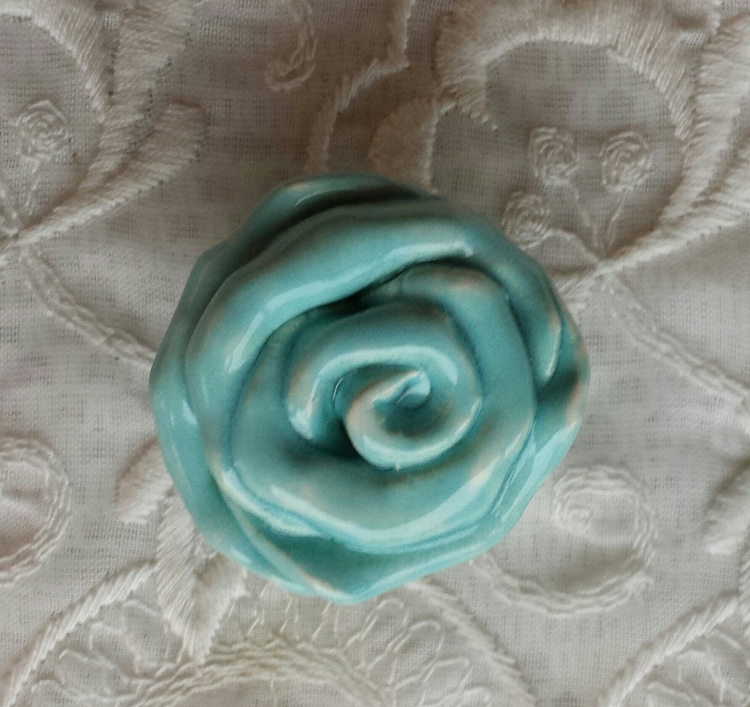 Rose Knobs Aqua Hardware Drawer Pulls