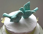 Bird Wedding Cake Topper Love Birds Aqua Ceramic Birds Ceramic Bird Home Decor