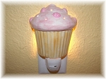 Cupcake Night light in PINK Wallmount Cupcake Decor