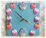 Cupcake Clock Bright Blue