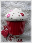 Valentine Holiday Night Light Red Velvet Ceramic Cupcake Wall mount Night Light