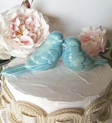 Aqua Wedding Cake Topper Love Birds Aqua Wedding Ceramic Birds Home Decor