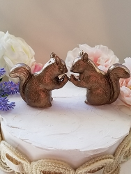 Squirrel Copper Wedding Cake Topper Large In Stock Ceramic Squirrels in Love