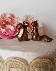 Copper Wedding Cake Topper In Stock Adorable Ceramic Squirrels in Love Anniversary Gift Copper Animals Home Decor Ceramic Vintage Design