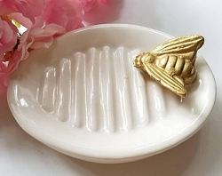 Soap Dish with Gold Bee Trinket Dish Jewelry Storage Wedding Ring Dish Elegant Eggshell Ceramic with Gold Ceramic Bee Housewarming Gift