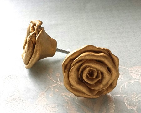 Gold Rose Knobs, new size 2.5 inches across, chic hardware