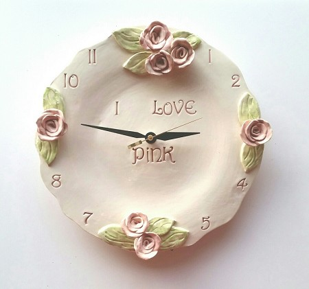 Clock  I Love Pink Ceramic 8