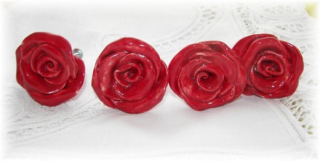 Rose Knobs Red Flower Ceramic Drawer Knobs Pulls kitchen or nursery home decor