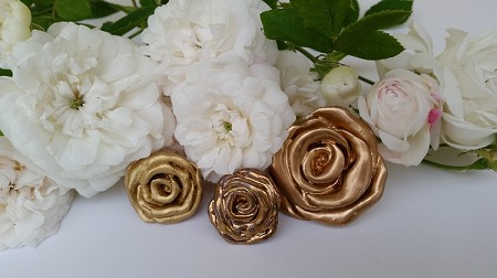 Rose Knobs Gold Leaf Hardware Drawer Pulls