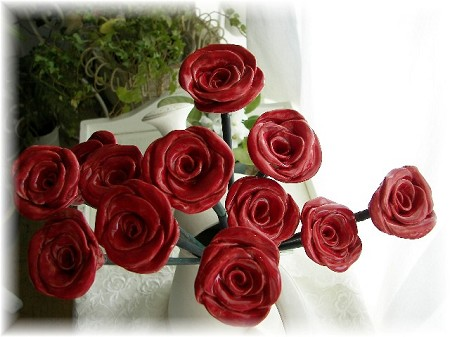 Red Ceramic Roses Price is For One